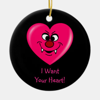 Vampire Valentine: Give your heart to me Round Ceramic Decoration