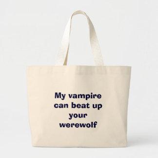 vampire vs. werewolfs large tote bag