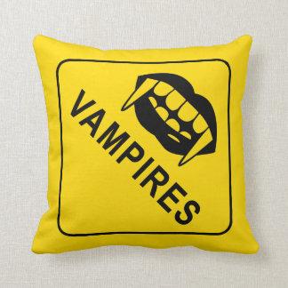 Vampire Warning Sign Throw Pillow