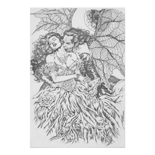 Vampire's Kiss by Al Rio - Vampire and Woman Art Print