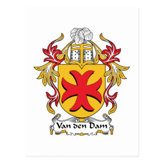 Van den Dam Family Crest Postcard