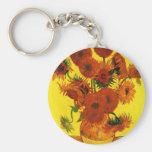 Van Gogh 15 Sunflowers Basic Round Button Key Ring
