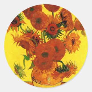 Van Gogh 15 Sunflowers Round Sticker