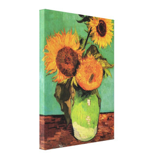 Van Gogh 3 Sunflowers in a Vase Vintage Fine Art Canvas Print