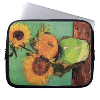 Van Gogh 3 Sunflowers in a Vase Vintage Fine Art Laptop Sleeve