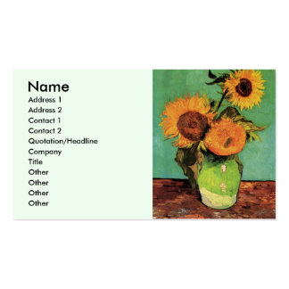 Van Gogh 3 Sunflowers in a Vase Vintage Fine Art Pack Of Standard Business Cards