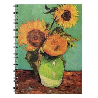 Van Gogh 3 Sunflowers in a Vase Vintage Fine Art Spiral Notebook