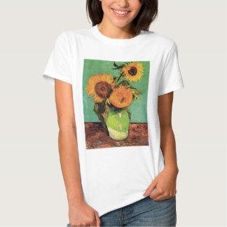 Van Gogh 3 Sunflowers in a Vase Vintage Fine Art T Shirt
