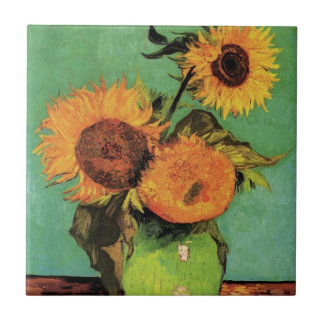 Van Gogh 3 Sunflowers in a Vase Vintage Floral Art Small Square Tile