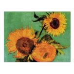 Van Gogh; 3 Sunflowers in a Vase, Vintage Flowers Postcards
