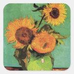 Van Gogh; 3 Sunflowers in a Vase, Vintage Flowers Stickers