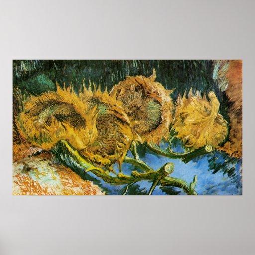 Van Gogh, 4 Cut Sunflowers, Vintage Flowers Floral Posters