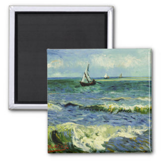 Van Gogh - A Fishing Boat at Sea Square Magnet