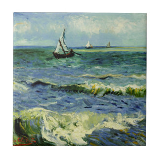 Van Gogh - A Fishing Boat at Sea Small Square Tile
