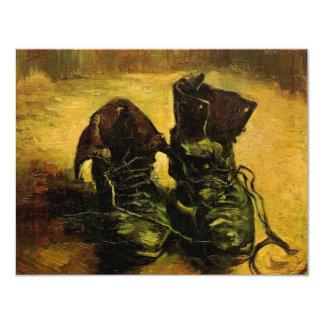 Van Gogh A Pair of Shoes, Vintage Still Life Art 11 Cm X 14 Cm Invitation Card