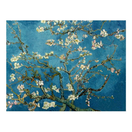 Van Gogh Almond Blossoms Vintage Floral Blue Postcard