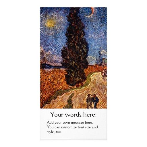 Van Gogh art painting The Cypress Road tree sky Custom Photo Card