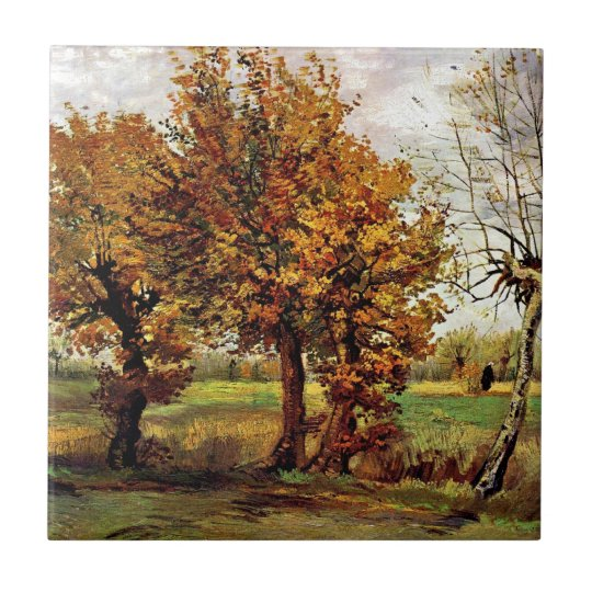 Van Gogh - Autumn Landscape With Four Trees Small Square Tile