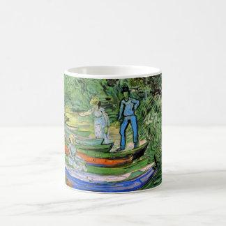 Van Gogh Bank of Oise at Auvers, Vintage Fine Art Basic White Mug