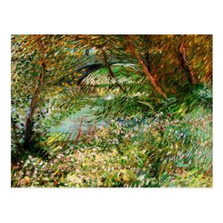 Van Gogh Banks of Seine Pont de Clichy in Spring Postcard