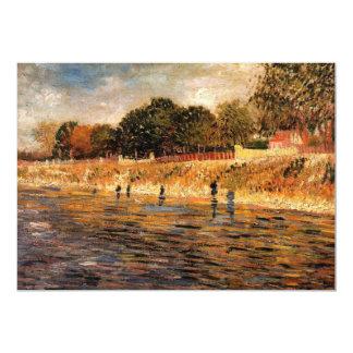 Van Gogh Banks of Seine River, Vintage Fine Art 13 Cm X 18 Cm Invitation Card