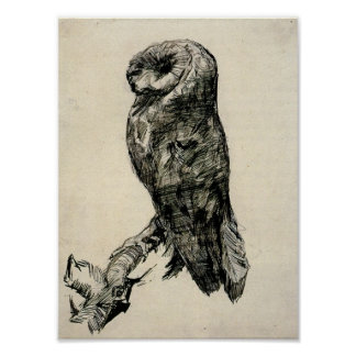 Van Gogh - Barn Owl Viewed from the Side Poster