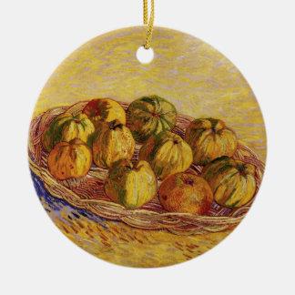 Van Gogh Basket of Apples, Vintage Still Life Art Round Ceramic Decoration