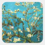 Van Gogh Blossoming Almond Tree (F671) Fine Art Square Sticker