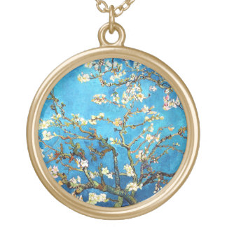 Van Gogh Blossoming Almond Tree Fine Art Round Pendant Necklace