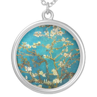 Van Gogh Blossoming Almond Tree Round Pendant Necklace