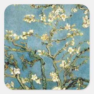 Van Gogh Blossoming Almond Tree Vintage Art Square Sticker