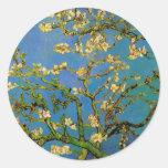 Van Gogh; Blossoming Almond Tree, Vintage Flowers Round Sticker
