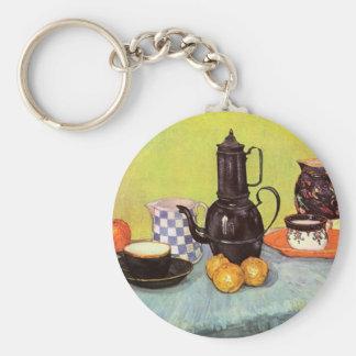 Van Gogh Blue Enamel Coffeepot, Earthenware, Fruit Basic Round Button Key Ring