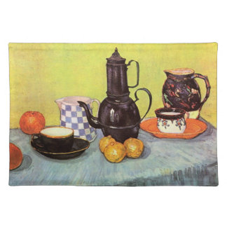 Van Gogh Blue Enamel Coffeepot, Earthenware, Fruit Placemat