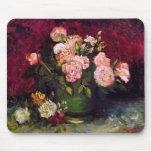 Van Gogh Bowl Peonies & Roses (F249) Fine Art Mousemat