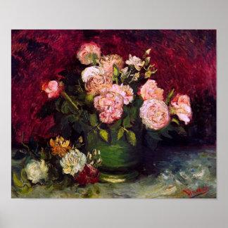Van Gogh Bowl Peonies & Roses (F249) Fine Art Poster