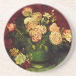 Van Gogh Bowl with Peonies and Roses, Fine Art Beverage Coasters