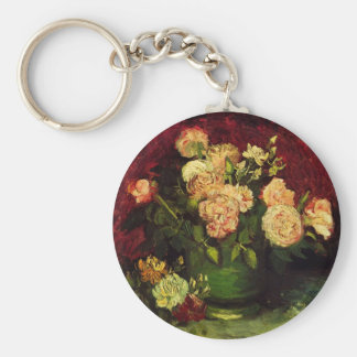 Van Gogh Bowl with Peonies and Roses, Fine Art Key Ring