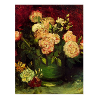 Van Gogh Bowl with Peonies and Roses, Fine Art Postcard