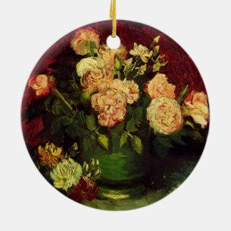 Van Gogh Bowl with Peonies and Roses, Fine Art Round Ceramic Decoration