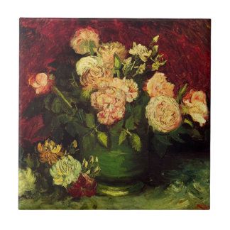 Van Gogh Bowl with Peonies and Roses, Fine Art Tile