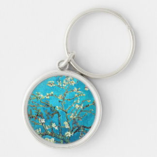 Van Gogh: Branches with Almond Blossoms Silver-Colored Round Key Ring
