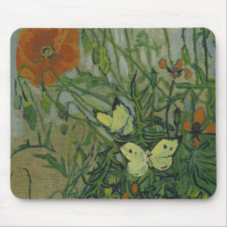 Van Gogh butterflies and poppies Mouse Mat