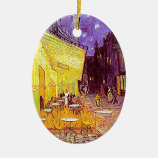 Van Gogh Cafe Impressionist Painting Ceramic Oval Decoration