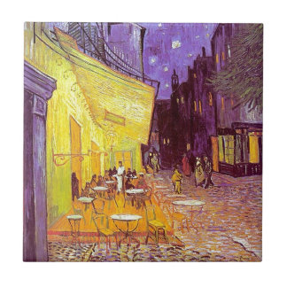Van Gogh Cafe Impressionist Painting Small Square Tile