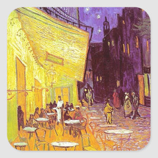 Van Gogh Cafe Impressionist Painting Square Stickers