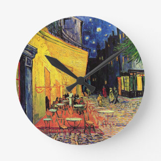 Van Gogh Cafe Terrace At Night Round Clock
