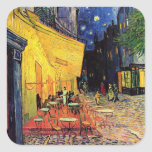 Van Gogh, Cafe Terrace at Night, Vintage Fine Art Square Sticker