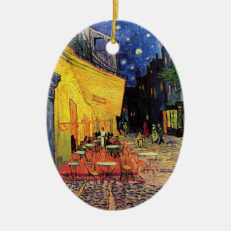 Van Gogh Cafe Terrace on Place du Forum, Fine Art Ceramic Oval Decoration