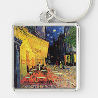 Van Gogh Cafe Terrace on Place du Forum, Fine Art Silver-Colored Square Key Ring
